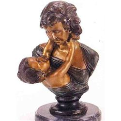 Mother &  Son  Bronze Sculpture - Houdon