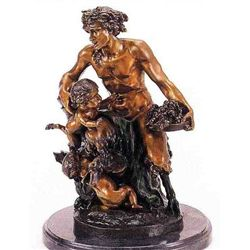 Male Satyr Group  Bronze Sculpture - Clodion