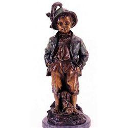 """""""Alpine Boy"""" Bronze Sculpture - Haubner"""