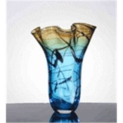 LG. HAND BLOWN ART GLASS VASE