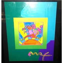 Jumper Over Sunrise  Peter Max Original Mixed Media