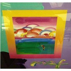 """""""Umbrella Man W/ Rainbow Sky"""" Peter Max Original Mixed Media"""