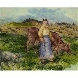 """Renoir  """"La Femme,La Vache Et Le Mouton"""" Etching"""