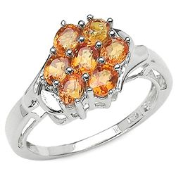 1.75 Carat Genuine Orange Sapphire .925 Sterling Silver Ring