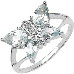 1.41 Carat Genuine Blue Topaz & Diamond .925 Sterling Silver Ring