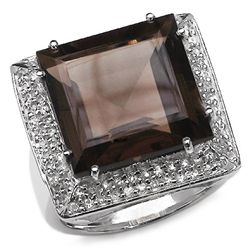 20.90 Carat Genuine Smoky & White Topaz .925 Sterling Silver Ring