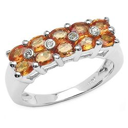 2.54 Carat Genuine Orange Sapphire & White Diamond .925 Sterling Silver Ring