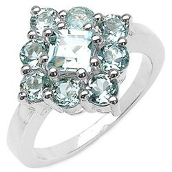 2.19 Carat Genuine Blue Topaz .925 Sterling Silver Ring