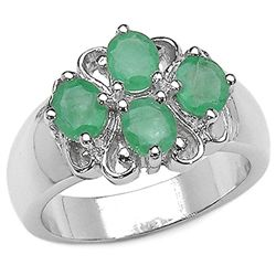 1.40Carat Genuine Emerald .925 Sterling Silver Ring