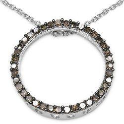 0.34 Carat Genuine Champagne Diamond .925 Sterling Silver Pendant