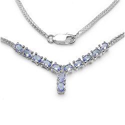 1.93 Carat Genuine Tanzanite & White Diamond .925 Sterling Silver Pendant