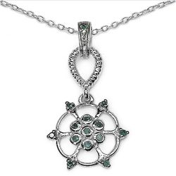 0.15 Carat Genuine Blue Diamond .925 Sterling Silver Pendant