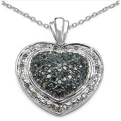 0.90 Carat Genuine Blue Diamond & White Diamond .925 Sterling Silver Pendant