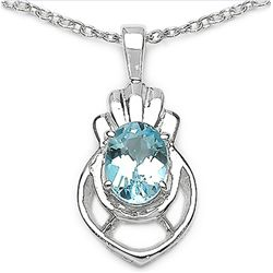1.00 Carat Genuine Blue Topaz .925 Sterling Silver Pendant