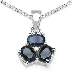 1.97 Carat Genuine Blue Sapphire & White Diamond .925 Sterling Silver Pendant