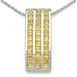 2.16 Carat Genuine Yellow Sapphire .925 Sterling Silver Pendant