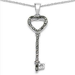 0.17 Carat Genuine Black Diamond .925 Sterling Silver Pendant