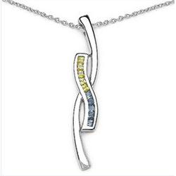 0.54 Carat Genuine Blue & Yellow Sapphire .925 Sterling Silver Pendant