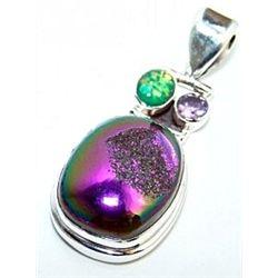Coated Drusy, Opal & Amethyst Pendant