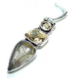 Citrine & Golden Rutilated Quartz Pendant