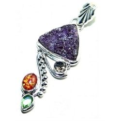 Amethyst Drusy, Opal & Peridot Pendant