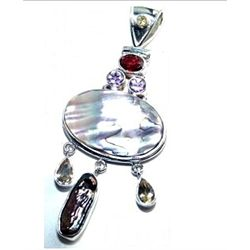 Abalone Shell, Biwa Pearl & Mixed Stones Pendant