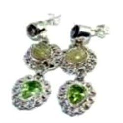 Golden Rutilated Quartz & Peridot Earrings