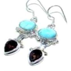 Larimar & Smokey Quartz Earrings