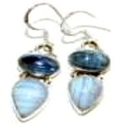 Blue Lace Agate & Kyanite Earrings