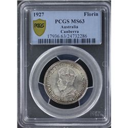 1927 Canberra Florin PCGS MS63