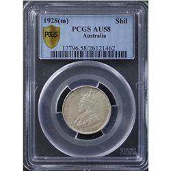 1928 Shilling PCGS AU58