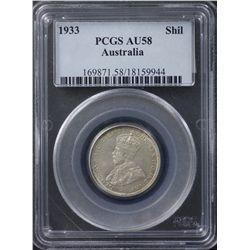 1933 Shilling PCGS AU58