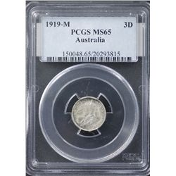 1919 Threepence PCGS MS65