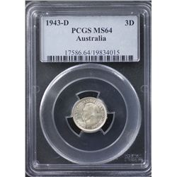 1943D Threepence PCGS MS64
