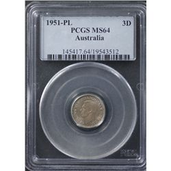 1951PL Threepence PCGS MS64