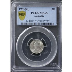 1955 Threepence PCGS MS65