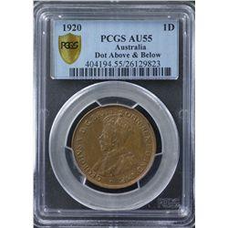 1920 Double Dot Penny PCGS AU55