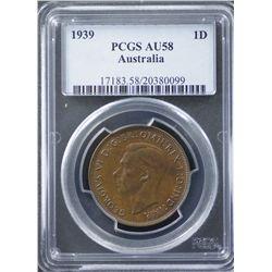 1939 Penny PCGS AU58