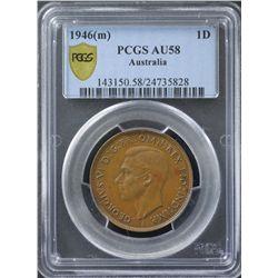 1946 Penny PCGS AU58