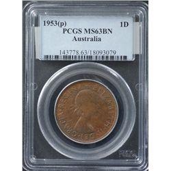 1953P Penny PCGS MS63 BN