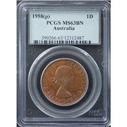 1958P Penny PCGS MS63 BN