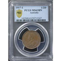 1917 ½ Penny PCGS MS63 BN