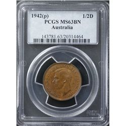 1942P ½ Penny PCGS MS63 Brown
