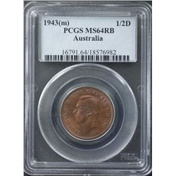 1943M ½ Penny PCGS MS64 Red Brown