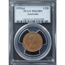 1955 ½ Penny PCGS MS63 Brown