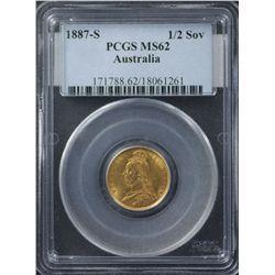 1887 S Half Sovereign PCGS MS62