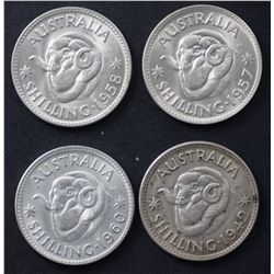 Australia Shillings 1942, 1957, 1958, 1960