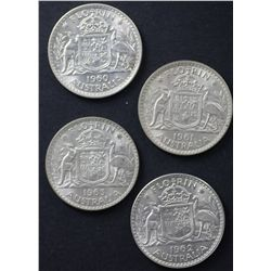 Australia Florins 1960, 1961, 1962, 1963