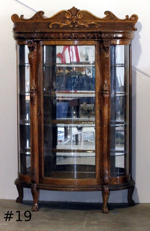 Antique Curio Cabinet With Curved Glass.Antique Curio China Cabinet Curved Glass