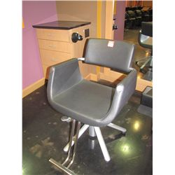 SOFT FEEL BLACK SALON CHAIR BY BELVEDERE WITH BOOSTER SEAT